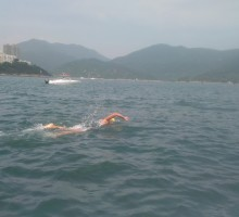 Lis endures an open swim session off the Hong Kong coast