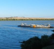 A ferry transits across the Murray River