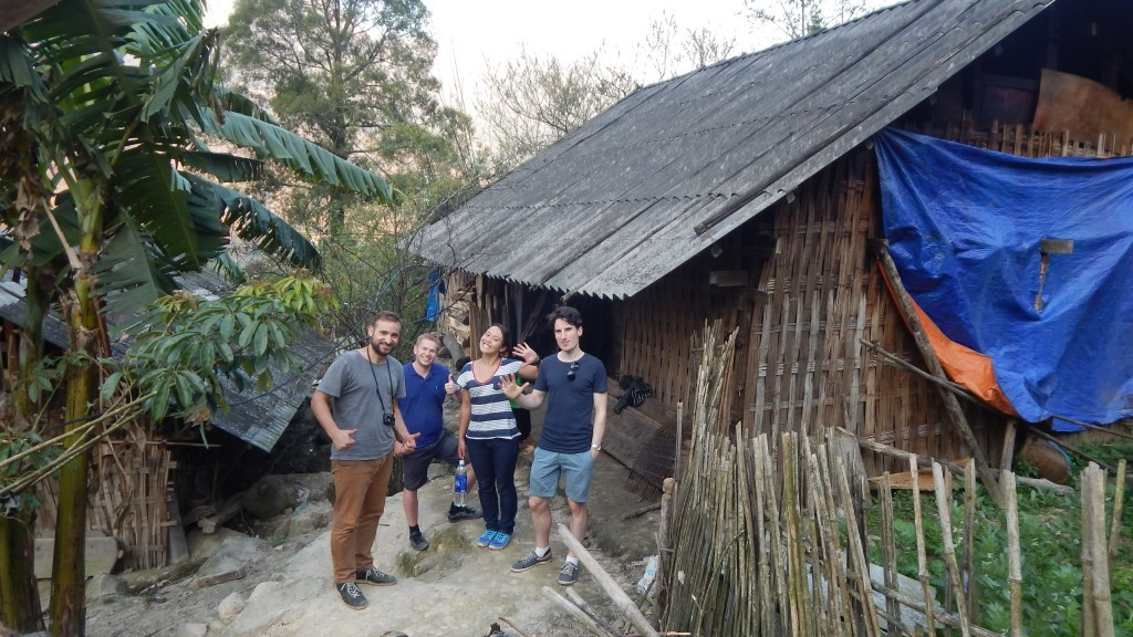 The group outside the homestay prior to breakfast